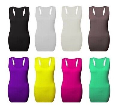 Womens Ladies Plus Size Long Racer Back Bodycon Muscle Vest Gym Sports Tops*Rcr