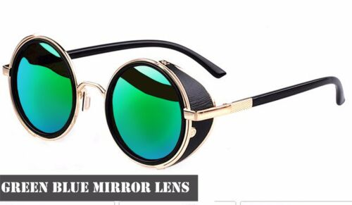 Lente Espejo Gafas Redondas Cyber Gafas Steampunk Gafas de Sol Vintage Retro