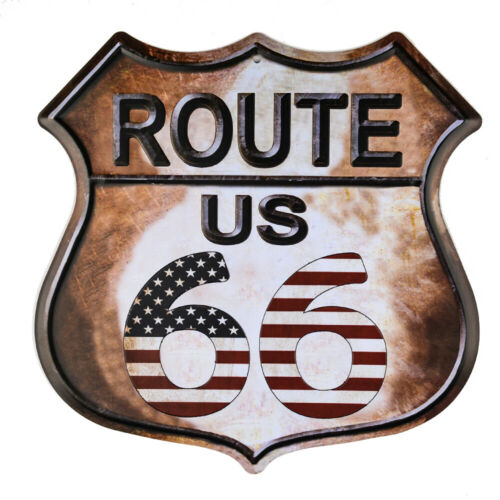 DL-Route 66 American Flag Novelty Highway Vintage Retro Wall Décor Shield 1 PC