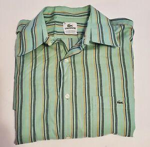 LACOSTE Men's  Green/Navy/Orange Striped L/S Button Down Shirt Sz 44 (XL) 19-14