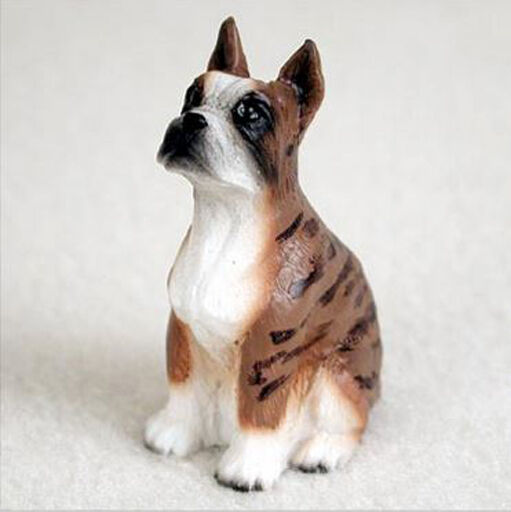 BOXER (CROPPED EARS BRINDLE) TINY ONES DOG Figurine Statue Pet Lovers Gift Resin