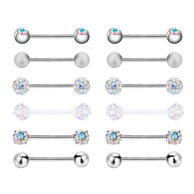 Pair 14G Rainbow Steel 1 Bar  Ball Lip Nipple Eyebrow Ring Stud Piercing