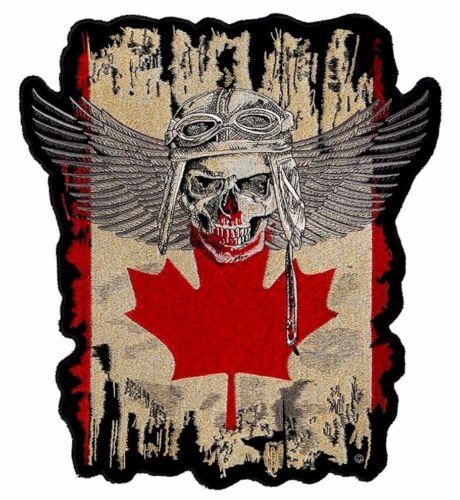 Medium Canadian Flag Fighter Pilot Skull With Wings Patriotic Biker Patch