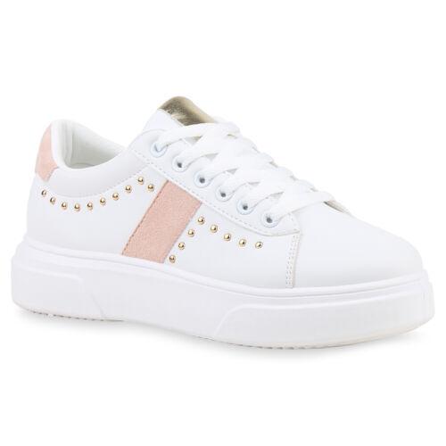 Damen Plateau Sneaker Turnschuhe Schnürer Nieten Plateauschuhe 833200 Schuhe