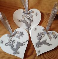 3 X Reindeer Christmas Decorations Large 8cm Silver Ribbons Bows