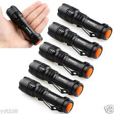 6pc Mini CREE Q5 7W 1200LM LED Lamp Adjustable Focus Zoom Light Flashlight Torch