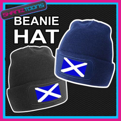 BANDIERA Scozia Disegno Stampato Nero o Blu Scuro Beanie
