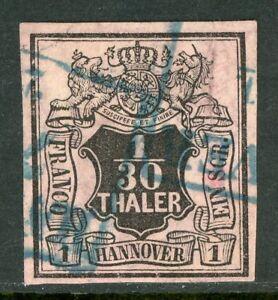 Germany-1855-Hannover-1-10-Thaler-on-Crimson-SG-4-VFU-G162
