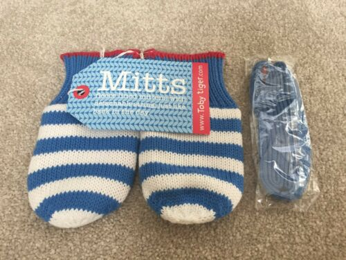 New Toby Tiger Soft Woolly Stripy Blue Mittens