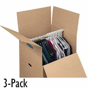 Image is loading Moving-Box-for-Hanging-Wardrobe-3-Pack-Closet-  sc 1 st  eBay & Moving Box for Hanging Wardrobe 3 Pack Closet Storage Clothes ...