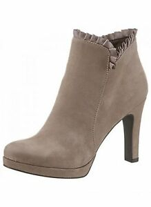 Details zu Tamaris Stiefelette Damen High Heels VELOURSLEDEROPTIK Touch it Taupe Neu 42