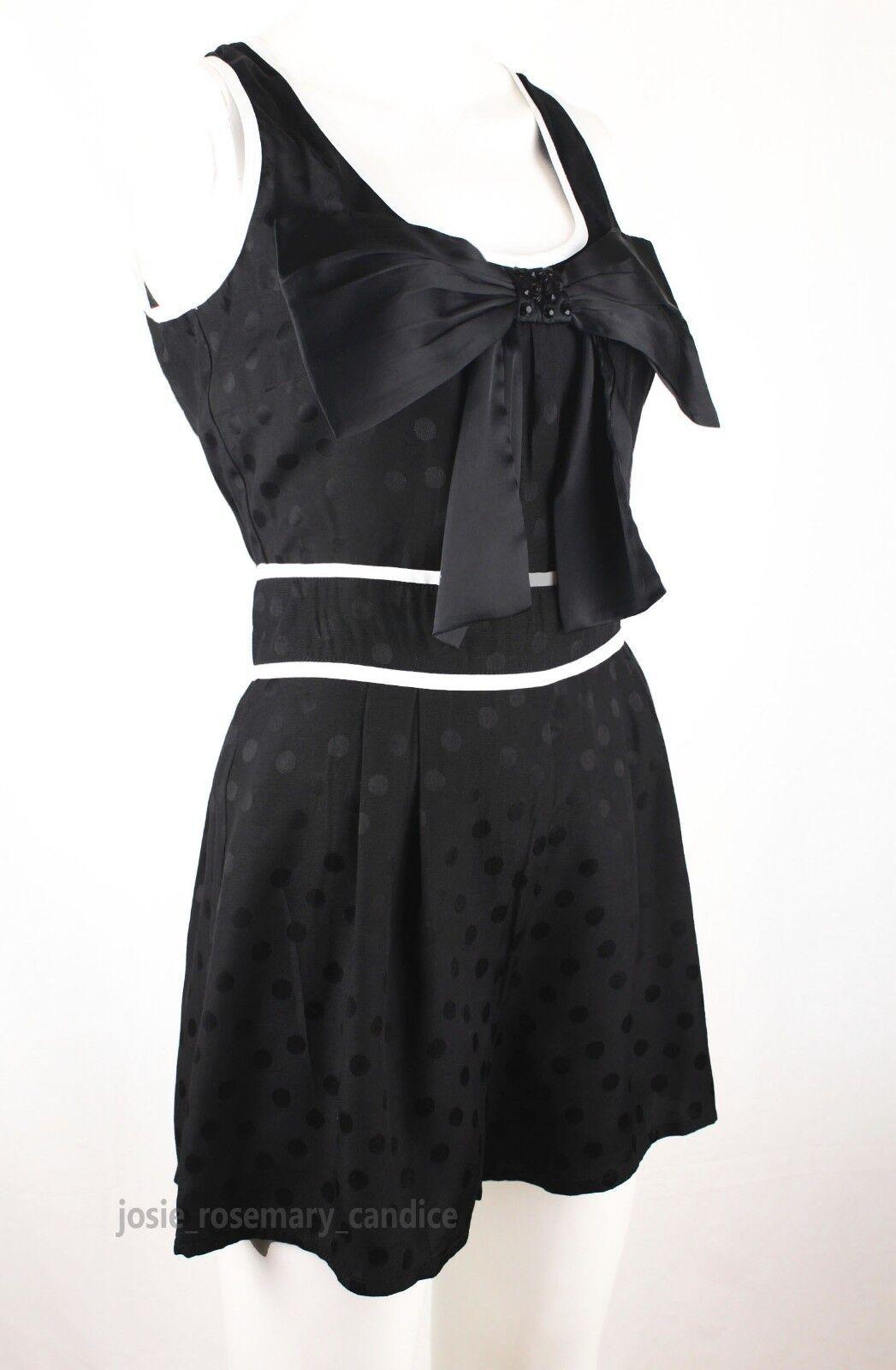 Nouveau Next taille Bow 12 noir/blanc embelli Bow taille Front Spot Print Short Combi c31ff8