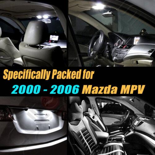 8Pc Super White Car Interior LED Light Bulb Kit for 2000-2006 Mazda MPV