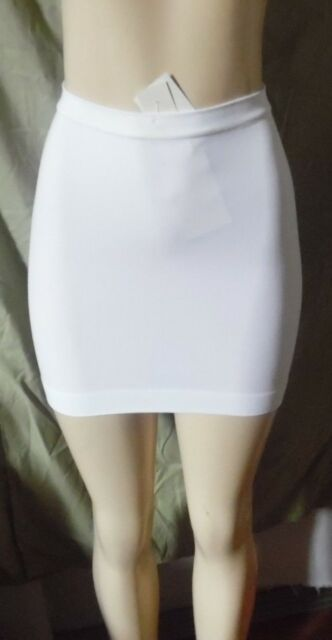 8121f0315f824 WHITE TUMMY CONTROL SHAPEWEAR SLIP MIDRIFF COVER SEAMLESS BARELY THERE LARGE