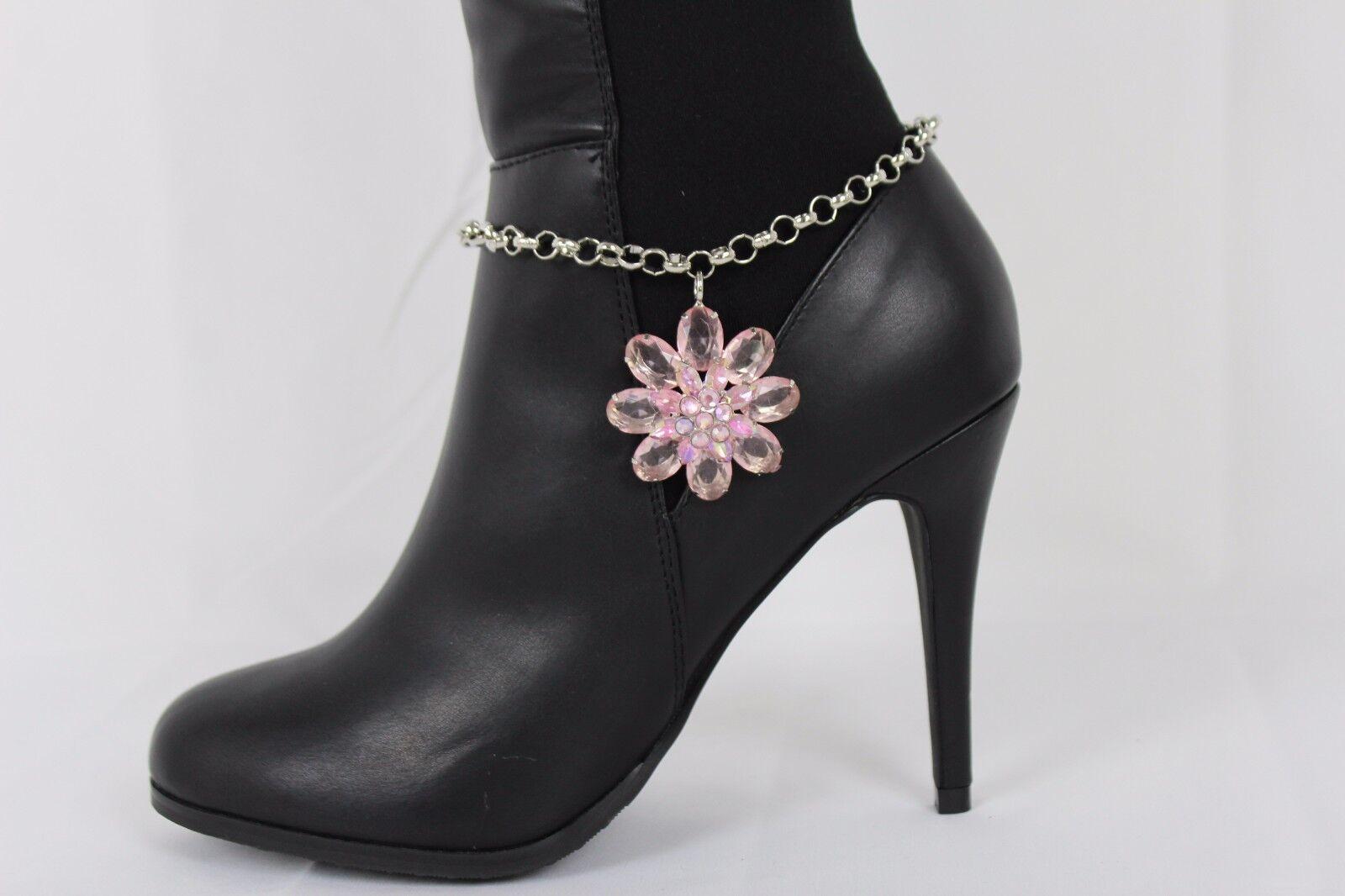 Women Silver Metal Chain Boot Bracelet Shoe Big Pink Flower Charm Jewelry Anklet
