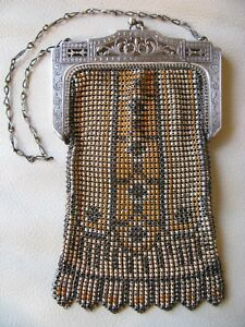 Forceful Antique Art Nouveau Filigree Enamel Blue Orange Beadlite Chain Mail Purse W&d Art Deco
