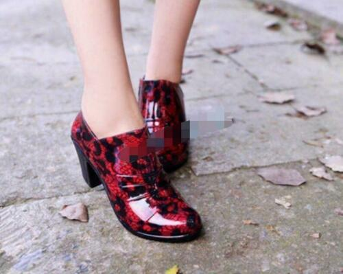 Women/'s Chunky Heels Round Toe Ladies Ankle Boots Rain Waterproof Pump Shoes NEW