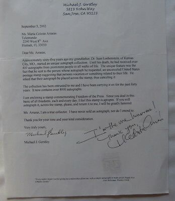 freedom O Symbol Of The Brand Signed Letter Of Michael J Gerstley With Als Of Maria Celeste Arraras Entertainment Memorabilia