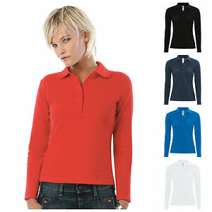 Ladies Womens Fitted Long Sleeve Polo Shirt Slim Fit Xs