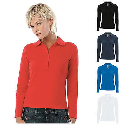 B/&c Femme//Femme Safran Manches Longues Polo Shirt Top 5 Couleurs XS-2XL