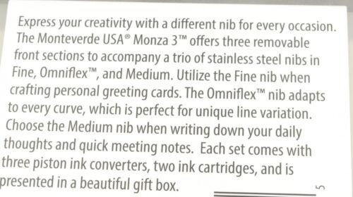 Monteverde Monza 3 Transparent Purple /& Chrome Fountain Pen Set w//3 Nibs New