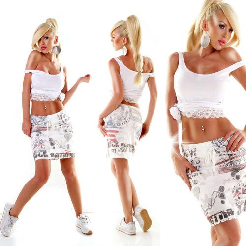L//XL Gonna da donna-Stampa Gonna Minigonna sweat-Jogging style America BIANCO S//M