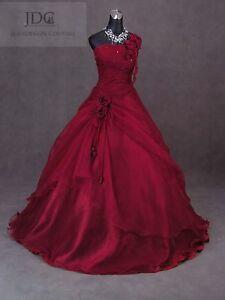 Ein-Schulter-Weinrot-Corsage-Brautkleid-Hochzeitskleid-mit-Rose-Bordeauxrot