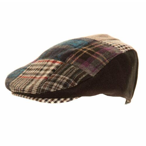 Mens Classic Flat Cap Patchwork Country Check Tweed Herringbone Flat Cap New
