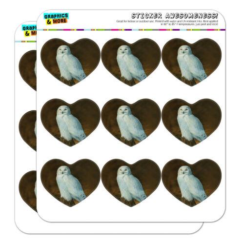 Snowy Arctic Owl on Tree Stump Heart Planner Scrapbook Craft Stickers