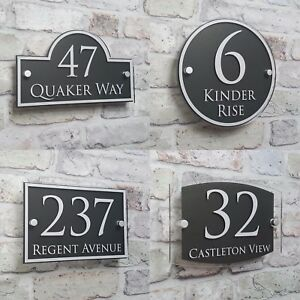 Modern house address plaque door number signs name plates glass effect acrylic ebay - Numeros metalicos para casas ...