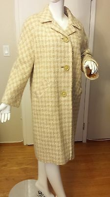 Brentshire Elegance, Tan/Ivory, Wool Tweed, Button-down Coat, (Size L)