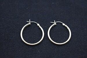 2mm-X-25mm-1-034-Plain-Polished-Round-Hoop-Earrings-Real-925-Sterling-Silver
