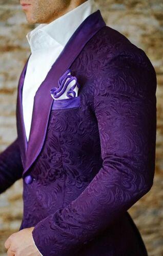 Custom Mens Purple Jacket Jacquard Paisley Tuxedos Groom Dinner Wedding Suit