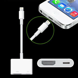 iphone to hdmi adapter. image is loading lightning-to-digital-av-tv-hdmi-cable-adapter- iphone to hdmi adapter l