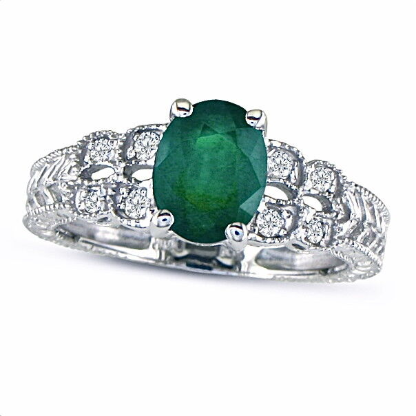 10K WHITE gold 1 1 2CT EMERALD AND DIAMOND VINTAGE RING, SIZE-8, 9