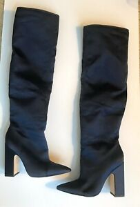ZARA-WOMAN-NAVY-BLUE-SATIN-HIGH-BOOTS-SIZE-6-UNUSED-WITHOUT-BOX