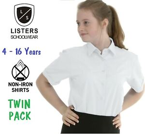 TWINPACK-Girls-School-Blouse-Shirt-White-Blue-Long-Short-Sleeve-Ages-3-to-Adult