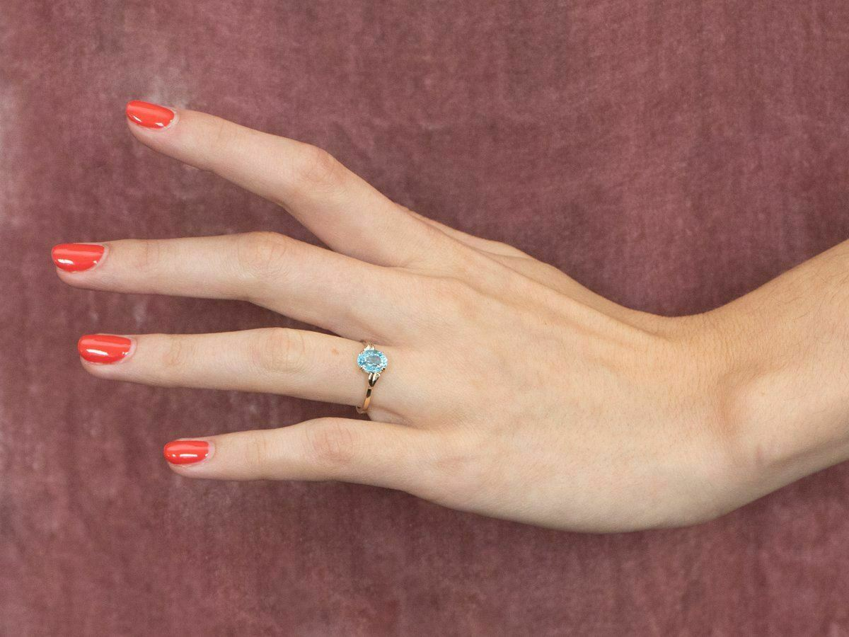 Blue Topaz Gold Solitaire Ring - image 10