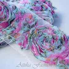Gorgeous Multi-Colour --- French Roses Chiffon Mesh Lace Trim *Per yard*
