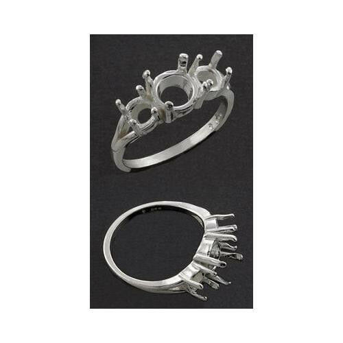 8mm Round with (2) 5mm Side Stones Sterling .925 Ring Setting (Ring Size 7 )