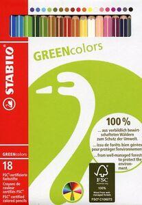 STABILO Greencolors 6019 Emballage Carton 18 Crayons Certifié FSC
