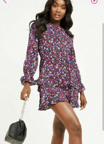 Quiz Skater Dress Size 10 /& 12 Ditsy Floral Long Sleeve Black Pink Purple GS23