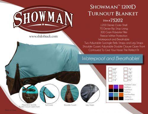 SHOWMAN 1200D WATERPROOF WINTER TURNOUT HORSE BLANKET 300gr IN COLORS COLORS IN 68 THRU 82 54b8c4