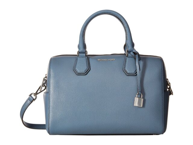 af6ccc1d19d6a Michael Kors Mercer Pebble Leather Medium Duffle Satchel Bag (Denim Blue)