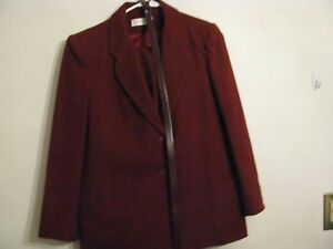 10 Jack Maroon Wool giacca Lined 1970's Suit pantaloni Retro 3 gonna Size Pc Winter pHvqxPXw