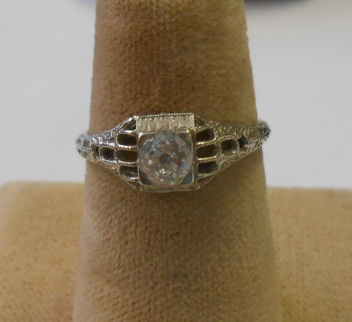 Very Rare Antique 19K White gold 43 Point Mine Cut Diamond Ring Size 5.5