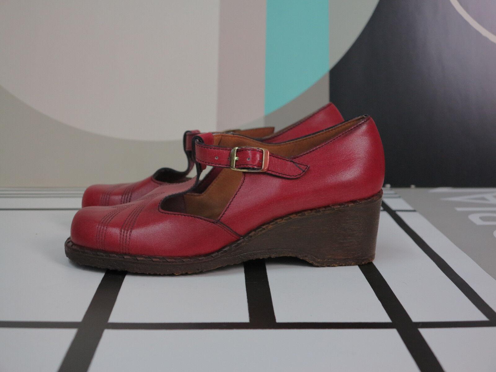 Mattil wedge damas plataforma zapatos zapato bajo 70er rojo truevintage 70s zapatos nos