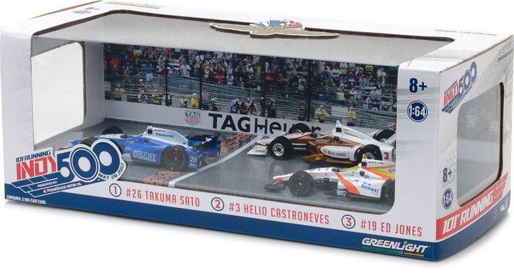 Grünlight 10799 2017 indianapolis 500 podium gesetzt 3-car 1 64 sato castroneves