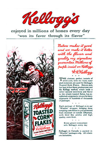 Kelloggs cornflakes 1919 Vintage Advertising poster reproduction.