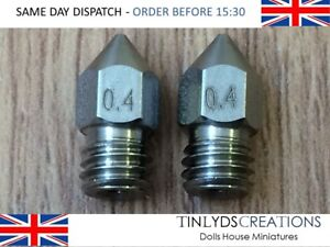MK8 Extruder Stainless Steel Nozzles 0.4mm M6 Thread - fit CTC , Anet A8 (D501)